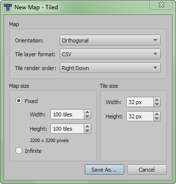 Settings for a new tmw map