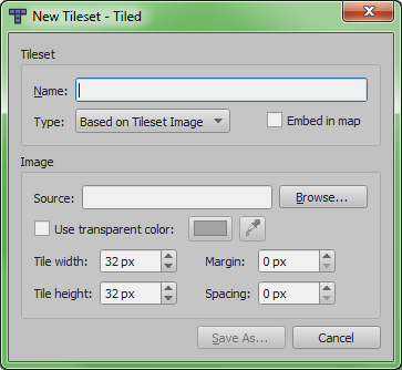 Settings for importing a tileset